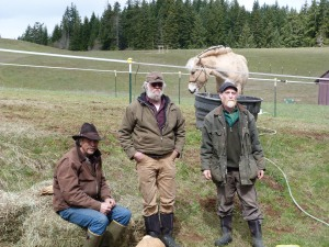 Gary with Ken, the ponies' breeder, and his friend Bill, with Konall in the background.