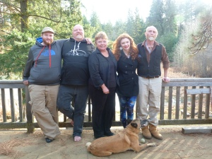 We enjoyed spring-like weather in late December with (from left) Gary's nephew Josh, brother Randal, sister Sharman, and Sharman's granddaughter Paige. And Gary and Ella, of course.