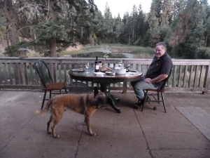 Richard cleaned all manner of debris from home improvement projects off the deck, making room for pond-side dinners on the warm September evenings during his visit.